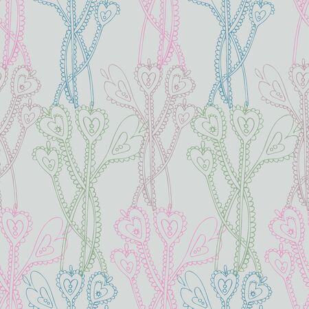 Modern seamless vector botanical colourful pattern with lined decorative lace flowers in pastel tones. Can be used for printing on paper, stickers, badges, bijouterie, cards, textiles.
