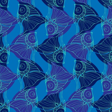 Seamless pattern design with decorative lined fish in blue tones. Can be used for printing on paper, stickers, badges, bijouterie, cards, textiles. 矢量图像