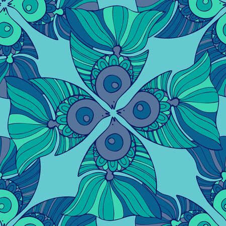 Seamless pattern design with decorative lined fish in blue tones. Can be used for printing on paper, stickers, badges, bijouterie, cards, textiles. Ilustração
