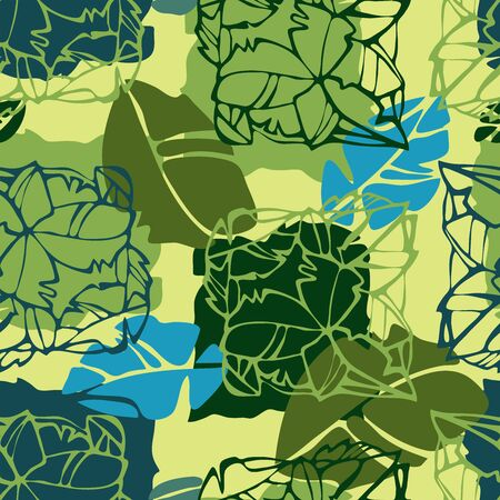 Modern seamless vector tropical colourful pattern with lined decorative flowers in green tones. Can be used for printing on paper, stickers, badges, bijouterie, cards, textiles.