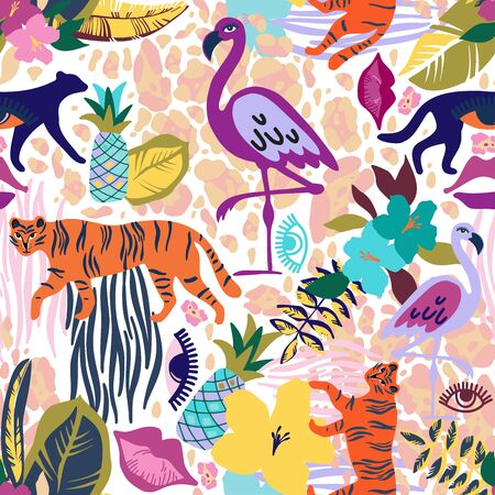 Modern seamless vector tropical colourful pattern with animals and fruits. Can be used for printing on paper, stickers, badges, bijouterie, cards, textiles. Ilustrace