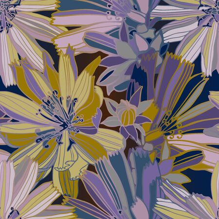Modern seamless vector botanical colourful pattern with chicory flowers. Can be used for printing on paper, stickers, badges, bijouterie, cards, textiles. 일러스트