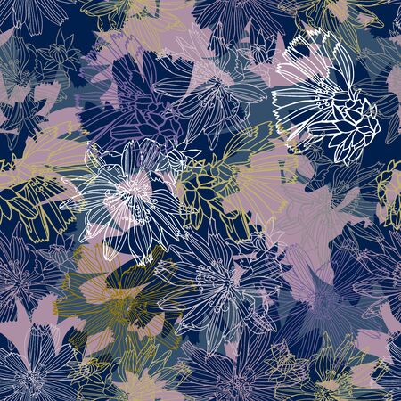 Modern seamless vector botanical colourful pattern with chicory flowers. Can be used for printing on paper, stickers, badges, bijouterie, cards, textiles. Illustration