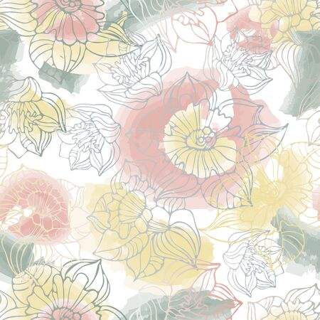 Seamless vector pattern of decorative lined lush daffodils. Can be used for printing on paper, stickers, badges, bijouterie, cards, textiles.