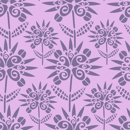 Modern seamless vector botanical pattern with garden flowers in pink. Can be used for printing on paper, stickers, badges, bijouterie, cards, textiles.