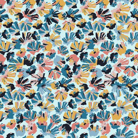 Modern seamless vector botanical colourful pattern with chicory flowers.