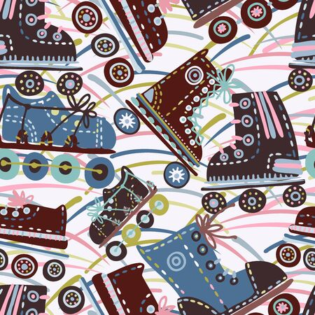 Seamless vector pattern with retro colourful roller skates with flowers.