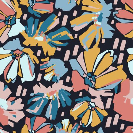 Modern seamless vector botanical pattern with colourful chicory flowers.