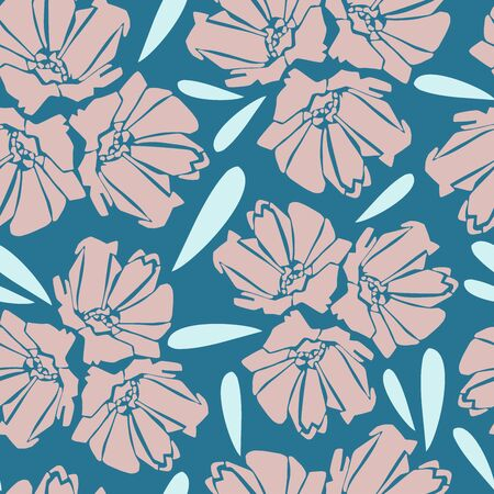 Modern seamless vector botanical pattern with pink chicory flowers on marine blue background.