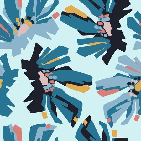 Modern seamless vector botanical pattern with chicory flowers in blue tones.