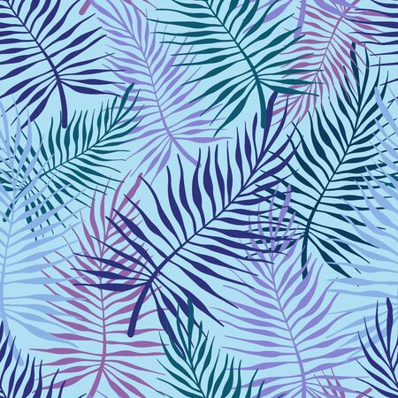 Seamless vector pattern lined leaves ornament in violet and blue tones.