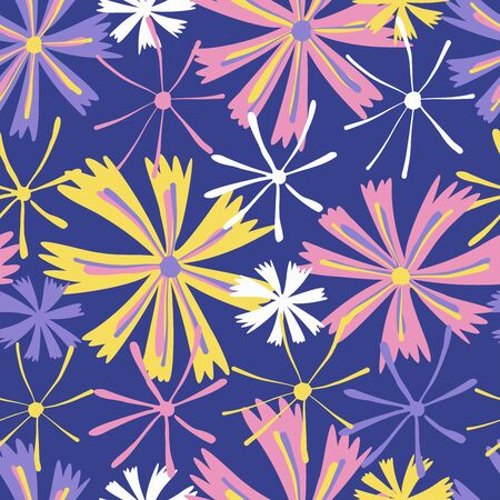 Modern seamless vector botanical pattern with seasonal spring flowers chicory or cornflower in purple tones. Can be used for printing on paper, stickers, badges, bijouterie, cards, textiles. Ilustracja