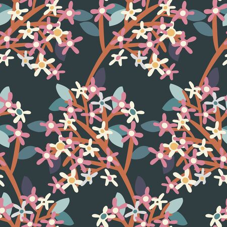 Seamless colourful pattern with decorative patch work ornament field spring seasonal flowers on a dark background. Can be used for printing on paper, stickers, badges, bijouterie, cards, textiles.