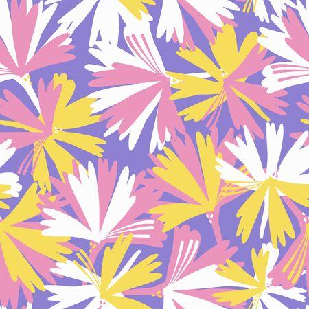 Modern seamless  botanical pattern with seasonal spring flowers chicory or cornflower in purple tones.