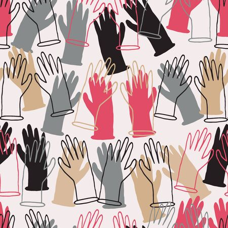 Seamless vector pattern with silhouettes of gloves in different colors on a white background. Vector pattern of colorful hands. Perfect for banners, backgrounds, badges, advertisements.