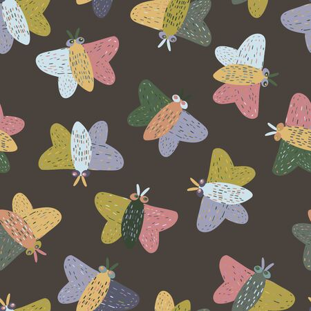 Modern seamless stylized design with big abstract butterflies. Vector pattern with decorative moths. Can be used for printing on paper, stickers, badges, bijouterie, cards, textiles. Illustration