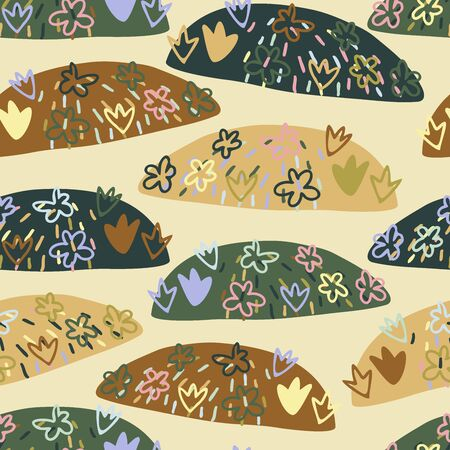 Seamless vector pattern of small abstract hills with flowers in different warm colors. The design is perfect for backgrounds, decorations, textile, surface design and outside decorations.
