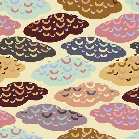 Seamless vector colorful pattern of cute cartoon light raining clouds in pastel tones. The design is perfect for backgrounds, sheets, wallpapers, wrapping paper, decorations, surfaces, textiles. Illustration