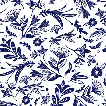 Seamless vector pattern of ornamental blue silhouettes of abstract flowers in Gzhel style. The design is perfectly suitable for clothes design, decoration, stationary, sheets, wallpaper, backgrounds. 写真素材 - 149438508