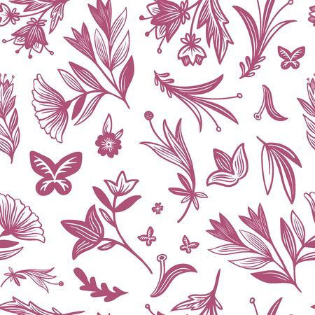 Seamless vector pattern of ornamental pink silhouettes of abstract flowers in Gzhel style. The design is perfectly suitable for clothes design, decoration, stationary, sheets, wallpaper, backgrounds.  イラスト・ベクター素材