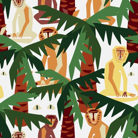 Modern seamless vector design tropical colourful pattern with decorative abstract palm trees and monkeys in rainforest. Can be used for printing on paper, stickers, badges, bijouterie, cards, textiles