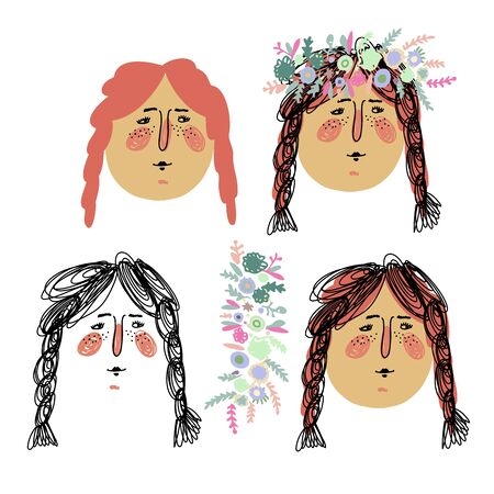 Isolated summer vector set faces of a young girl in different styles, lines, spots and mixed with garland of rose flowers. The design is perfect for stickers, packages, decorations, textiles, surfaces