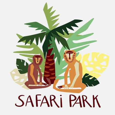 Modern isolated vector design tropical decorative cartoon safari park with macaques. Colorful sitting monkeys and palm tree and leaves. Perfect for cards, postcards, advertisements, stickers, badges Vectores