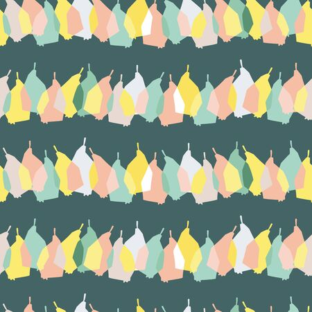 Modern seamless pattern in pastel colors with abstract fruits pears in lines on turquoise background. Can be used for printing on paper, stickers, badges, bijouterie, cards, textiles. Ilustrace