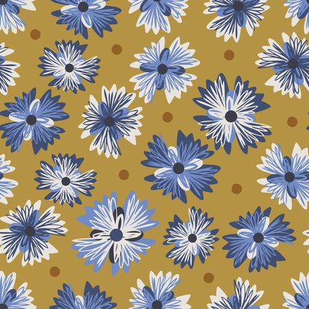 Vector seamless pattern colorful design of hand-drawn sketched blue cornflower doodles on yellow. The design is perfect for background, textiles, wrapping paper, wallpaper, decorations and surfaces Vector Illustration