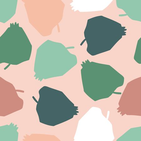 Modern seamless vector pattern in pastel colours with abstract fruits silhouettes colorful apples on pink background. Can be used for printing on paper, stickers, badges, bijouterie, cards, textiles. Ilustrace