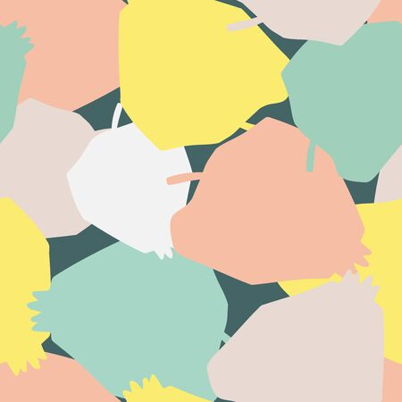 Modern seamless vector pattern in pastel colours with abstract fruits overlapping silhouettes colorful apples. Can be used for printing on paper, stickers, badges, bijouterie, cards, textiles. Ilustrace