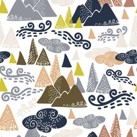 Vector seamless colorful design with mountains, clouds and wind in a forest. Cute decorative background design. Perfect for maps, decorations, textiles, surfaces, backgrounds, sheets, cushions