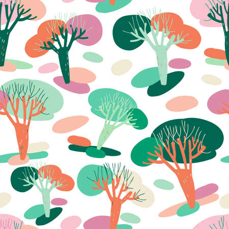 Modern seamless simple colorful pattern with spot trees in pastel colors. Abstract design. Can be used for printing on paper, stickers, badges, bijouterie, cards, textiles.