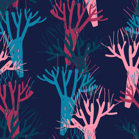 Modern seamless vector simple colourful pattern with trees in dark tones 일러스트
