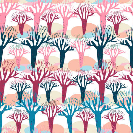 Modern seamless vector simple colourful pattern with winter trees