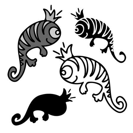 Vector isolated set design with decorative grey cute lizards with crown on white