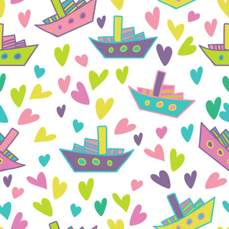 Seamless colorful design of ships and hearts in bright colors on white Illustration