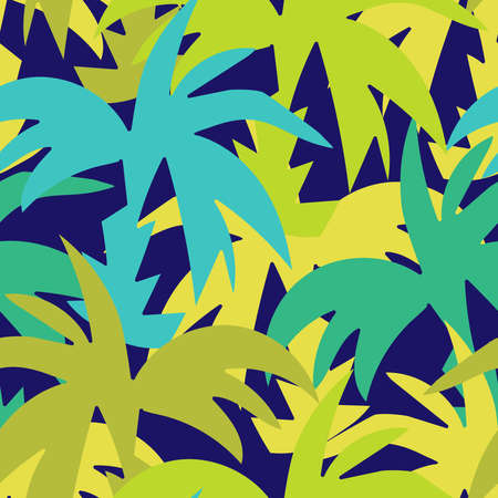 Modern seamless vector design tropical green pattern with decorative palm trees Illustration
