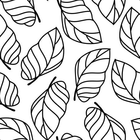 Vector seamless lined black and white pattern of ornamental tropical leaves