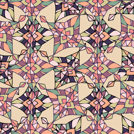 Modern seamless stylized colorful design with abstract geometric shapes Illustration