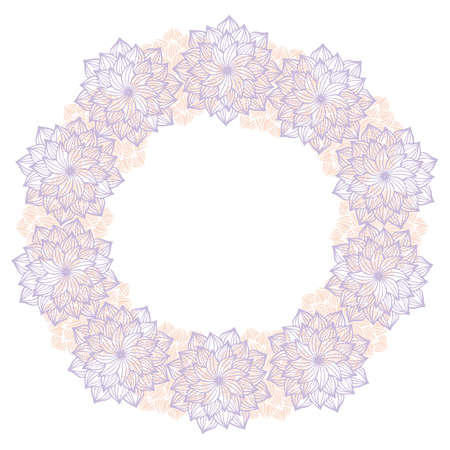 Vector isolated design botanical cute garland floral vignette. Cute circle frame