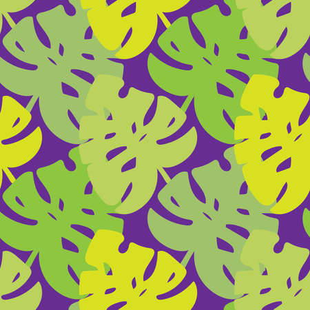 Modern seamless vector design tropical green pattern with decorative leaves