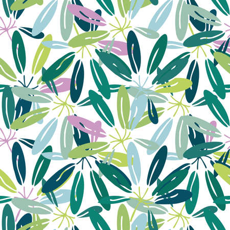 Vector seamless ornamental lined colorful green pattern of tropical leaves
