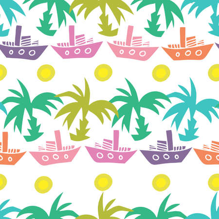 Seamless vector design tropical green pattern with decorative palm trees and ships Illustration