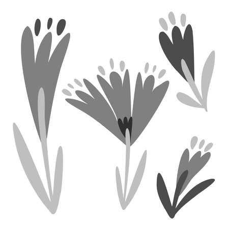 Isolated vector black and white set of decorative doodles of flowers