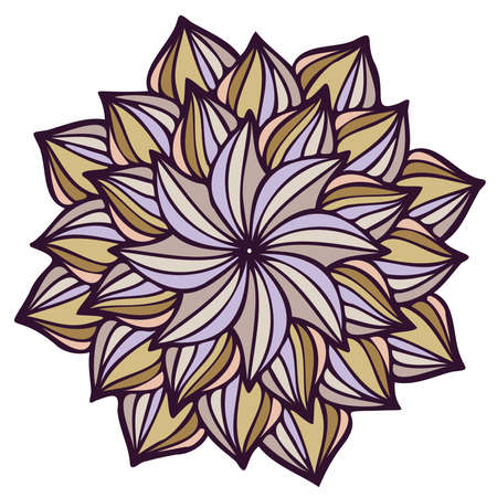 Modern isolated stylized design with abstract calligraphic lines in flower shape Illustration