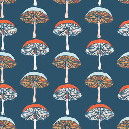 Vector seamless colorful pattern with lined mushrooms or fungi in pastel tones Illustration