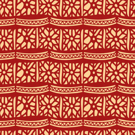 Vector seamless vintage pattern of traditional textile patchwork blanket in red
