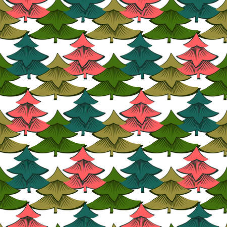 Vector seamless colorful design with decorative triangular fir trees on white