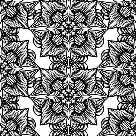Seamless black and white vector pattern with decorative abstract floral ornament Illustration